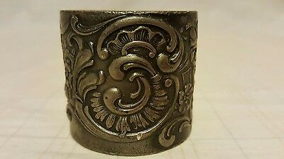 Antique Silverplate Napkin Ring - embossed floral designs