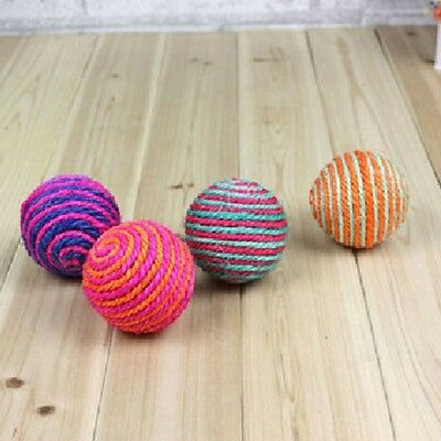 Funny Cat Kitten Pet Sisal Rope Ball Teaser Play Rattle Scratch Catch Toy