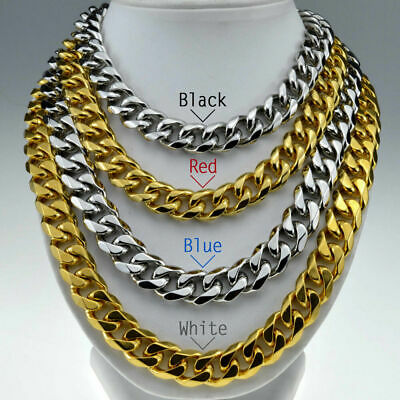 316L Stainless steel Mens Necklace Cuban Curb Chain 60cm L in gold/silver tone