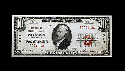 1929 $10 First National Bank, paterson new jersey