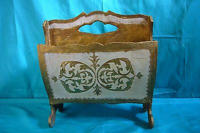 Vintage Italy Florentine Wood Magazine Rack Hand Made In Italy ( Florentia )