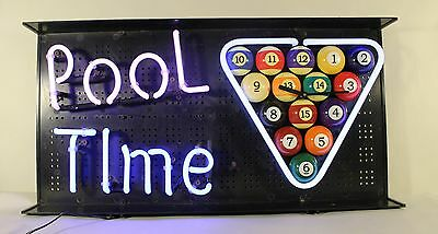 vtg POOL TIME NEON WALL CLOCK LIGHT SIGN, Billiard cue table, beer, game room.