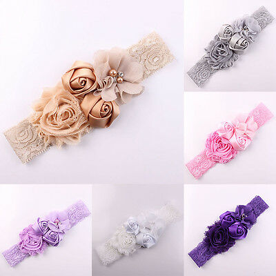 Lace Flowers Hairband Turban Headwear For Newborn Infant Gilrs Hair Accessories