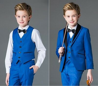 New Royal Blue Kid's 3 Piece Wedding Groom Tuxedos Flower Boys Party Prom Suits