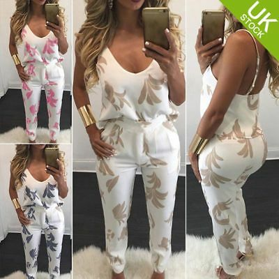 Ladies 2 Pcs Sets V Neck Top and Pencil Trousers Print Jumpsuit Romper Playsuit
