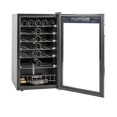 35 Bottles Freestanding Wine Fridge Stainless Steel Wine Cooler Cellar Barware