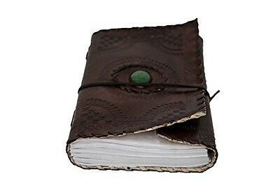 INDO CRAFT Brown Leather Single Stone Journal Diary Notebook with Embossed