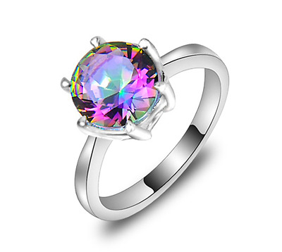 925 Sterling Silver Made With Swarovski Crystal Mystic Topaz Engagement Ring