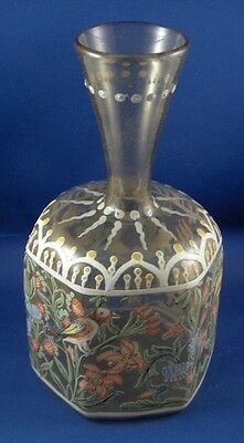 Antique 19thC French / German Enamel Scenic Glass Vase Glas Scene Germany France