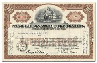 Nash-Kelvinator Corporation Stock Certificate