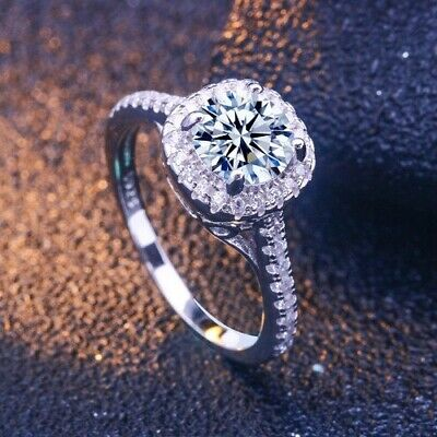 925 Sterling Silver Made With Swarovski Crystal Faux Diamond Engagement Ring