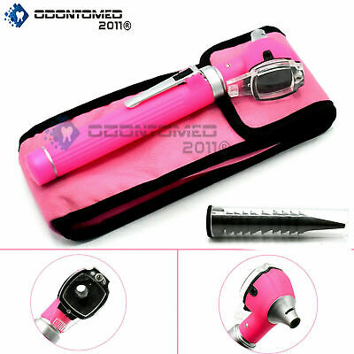 Mini Otoscope, Fiber Optic, Bright LED illumination, Pink Color