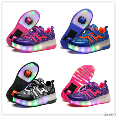 Roller Skate Shoes Retractable Wheels LED Light Shoes Boys Girls Adult Sneakers