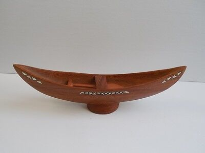 Hand Carved Wooden Inlaid Boat 11 1/4""