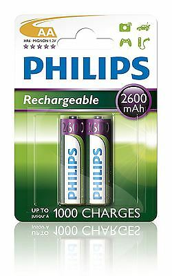 New Genuine Philips AA 2600 MAH Nimh LR6 Rechargeable Batteries Battery - 2 Pack