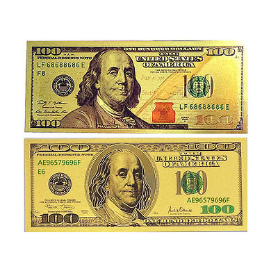 2PCS 24K USA Gold Foil Dollars $100 Banknotes Home Decor Collections Arts Gifts