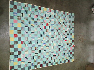 c1930s MID CENTURY MODERN HAND QUILTED FEED SACK QUILT NINE PATCH VARIATION (B)