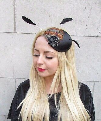 Black Brown Statement Feather Fascinator Headband Vintage Hat Races 1940s 2941
