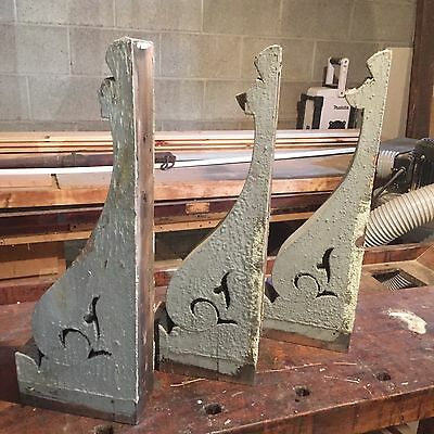 Vintage Late 1800's CORBELS Architectural Salvage Gray Chippy (set  of 3) A4