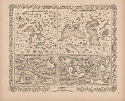 Lakes Islands Comparative Vintage Map Original Decor Gift Ideas Colton 1856