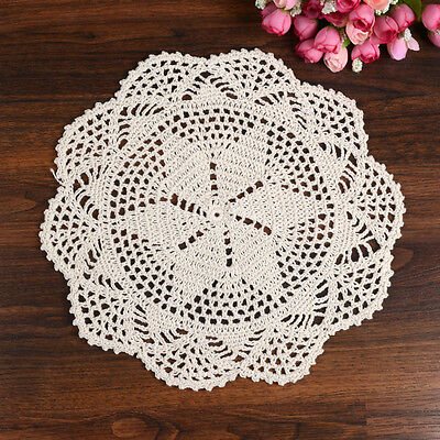 """11"""" Round Pure Cotton Yarn Beige Ecru Hand Crochet Lace Doily Placemat Table Mat"""