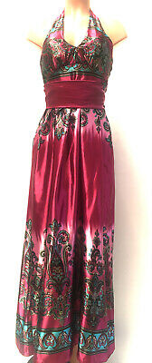 Womens Pink Silk Party Dress Full Length Purple Xmas Strapless Gown With Sash