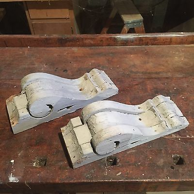 Two VINTAGE CORBELS Architectural Salvage Gray Chippy Paint Late 1800's house A4