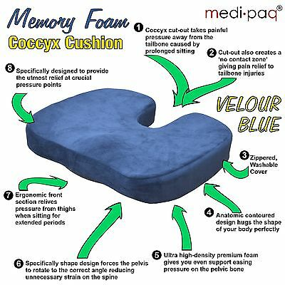 Medipaq® Orthopedic Memory Foam Coccyx Seat Cushion Lumbar Tail Bone Pain Relief