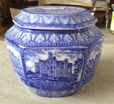 RARE ORIGINAL MALING WARE TEA CADDY WITH CASTLES IMAGES MADE FOR RINGTONS c.1929
