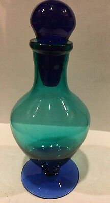 """Hand Blown Cobalt Blue/Teal Perfume Bottle with stopper 5 3/4"""" Tall"""