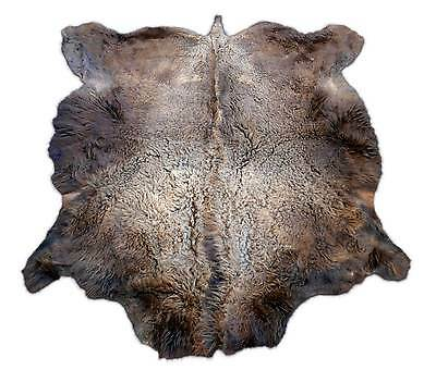 American Bison Hide Rugs Sizes: ~ 7' x 7' Natural Tanned Bison Fur Skin Rugs