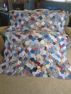 Vtg Antique Hand Stitched Quilt Top Scalloped Patchwork Pieces Country Colors