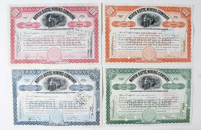 MONTANA - NORTH BUTTE MINING COMPANY  - (4) stock certificates 1917-1937