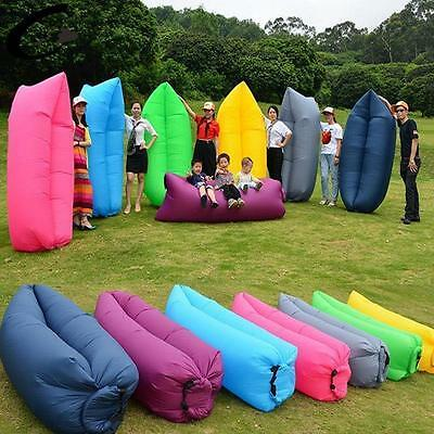 Sofa Bed Lazy Waterproof Lounger Chair Fast Inflatable Camping Air Sleeping Bag#