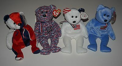 TY Beanie Babies Lot 4 Bears America blue & white w reversed ears, USA, Patriot