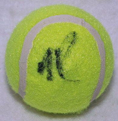 Milos Raonic Tennis autograph, In-Person signed Tennis Ball - Proof