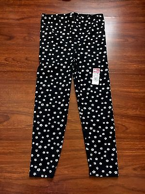 Toddler Girls Black & White Floral Leggings Size 5T