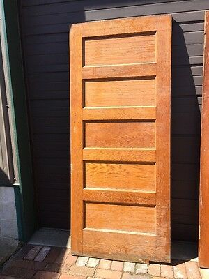 A.R. Antique Five Flat Panel Oak Swing Door 35.75 X 83.5
