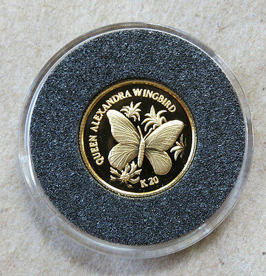 1998 Papua New Guinea 20 Kina 1/25 oz .999 Gold Butterfly