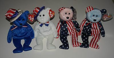 TY Beanie Babies Lot 4 Patriotic Bears Sam Benjamin Spangle pink and blue heads