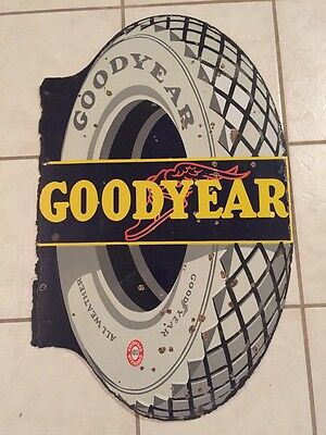"Antique Goodyear Tire Porcelain Flange Sign 34"" Double Sided Winged Foot"