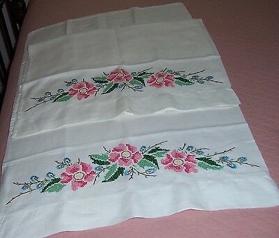 Pure Linen Pillowcase Pair - Hemstitched & Embroidered