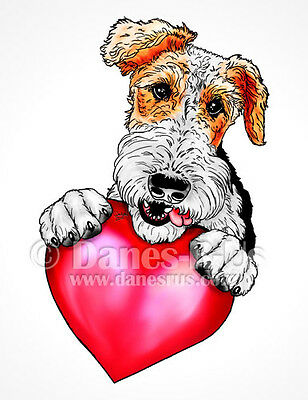 Wire Fox Terrier Holding Heart Valentines Dog Art Greeting Note Cards Set of 10