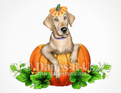 Labrador Retriever Yellow Lab Halloween Dog Art Greeting Note Cards Set of 10