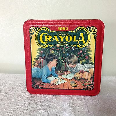 1992 Crayola Teddy Bear Christmas Onament With Collector Tin and 64 New Crayons