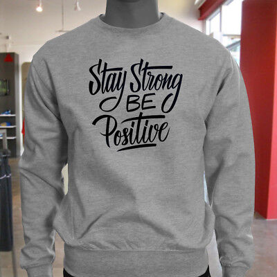 STAY STRONG BE POSITIVE MOTIVATION INSPIRE FIGHT Mens Gray Hoodie