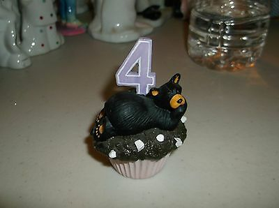 BearFoots,Resin Bear Figurine,Bear Sitting On A Cupcake With #4 Years/Birthday