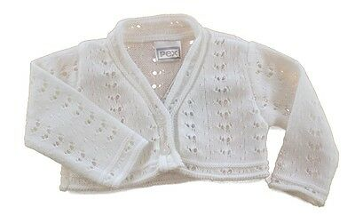 Pex Pretty Lacy New Baby Girl White Cardigan Bolero Party Christening 0-12 Mnths