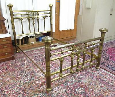 LATE VICTORIAN BRASS BED WITH RAILS, American, c. Lot 228