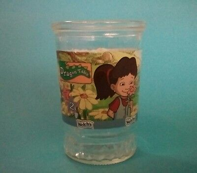 Vintage Welch's Dragon Tales #2 Glass Jelly Jar  Animated Art Characters Flowers